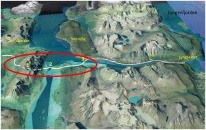Tenkt trase for Ullsfjordforbindelsen